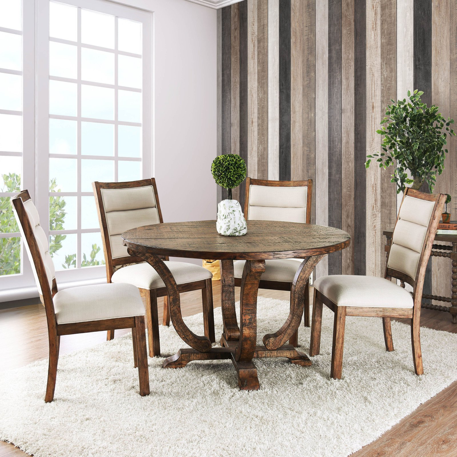 Furniture Of America Wenslow 5 Piece Rustic Round Dining Table Set
