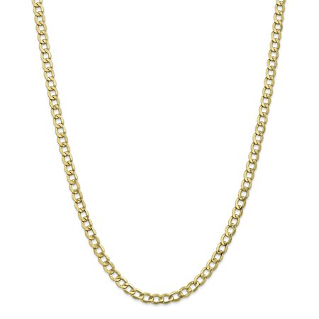- 10k Yellow Gold 5.25mm Curb Cuban Link Chain Necklace 22 Inch Pendant Charm For Women