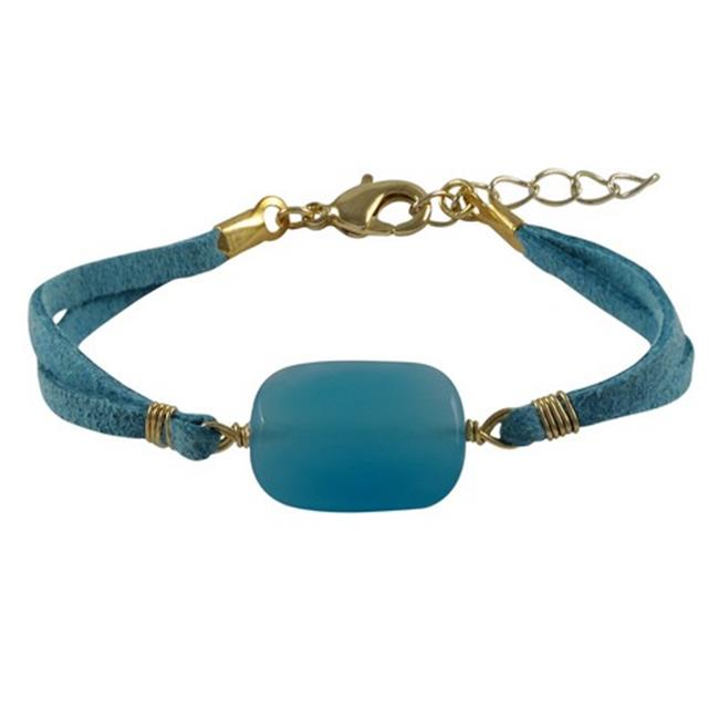 Dlux Jewels Blue Chalcedony Semi Precious Stone with Turquoise Suede Chain Bracelet, 7 x 1 in. by Dlux Jewels
