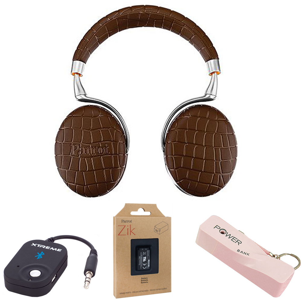 Parrot Zik 3 Wireless Noise Cancelling Bluetooth Headphones (Brown Croc) Mobile Bundle