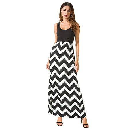 DYMADE Women Boho Chevron Striped Print Summer Sleeveless Tank Long Maxi Party Dress Size S-5XL