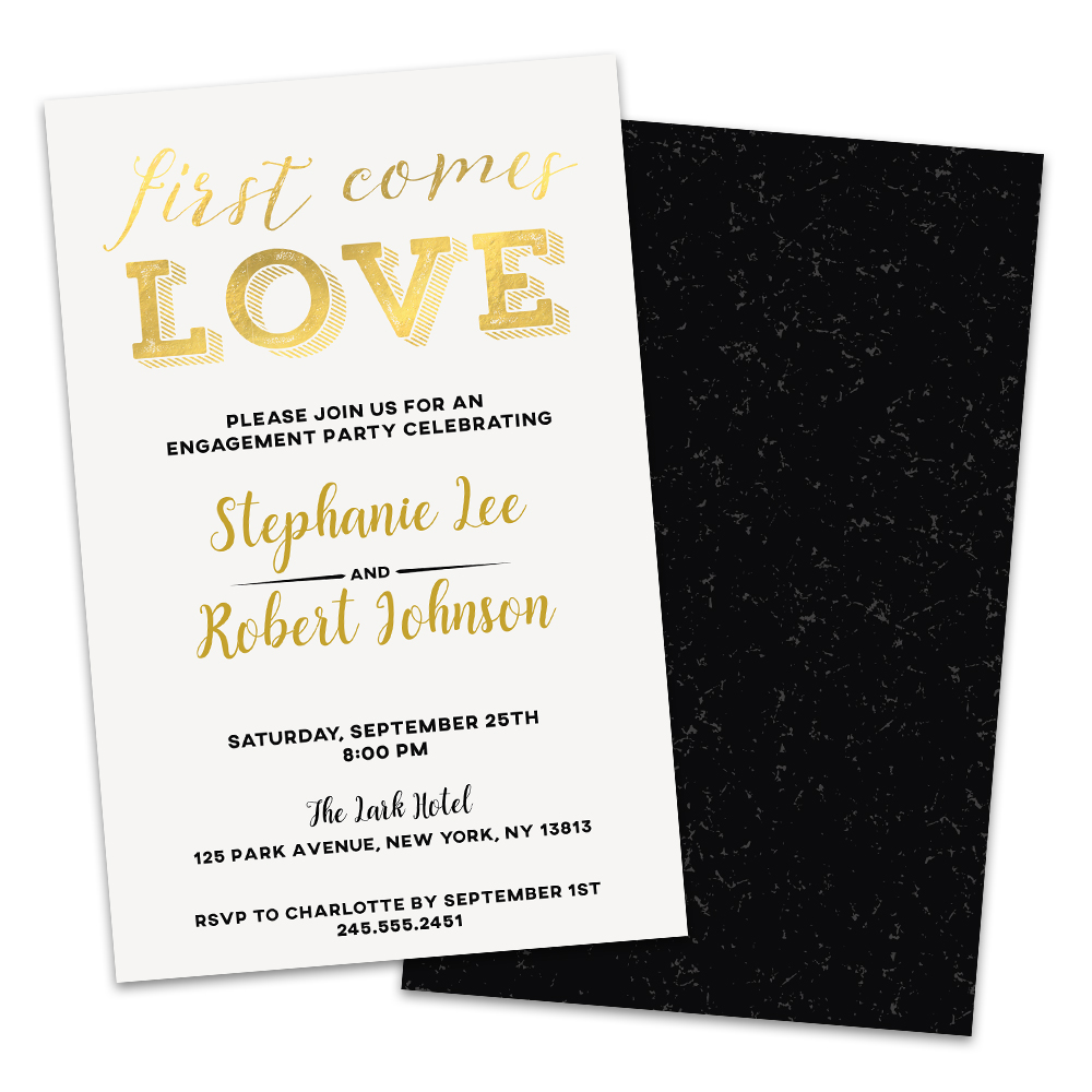 Personalized First Comes Love Engagement Party Invitations