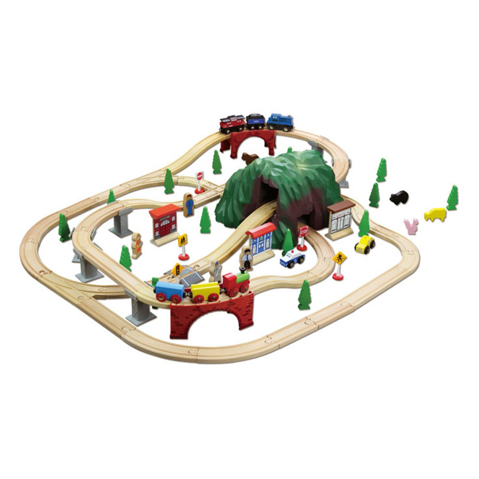 100-Piece Mountain Wooden Train Set