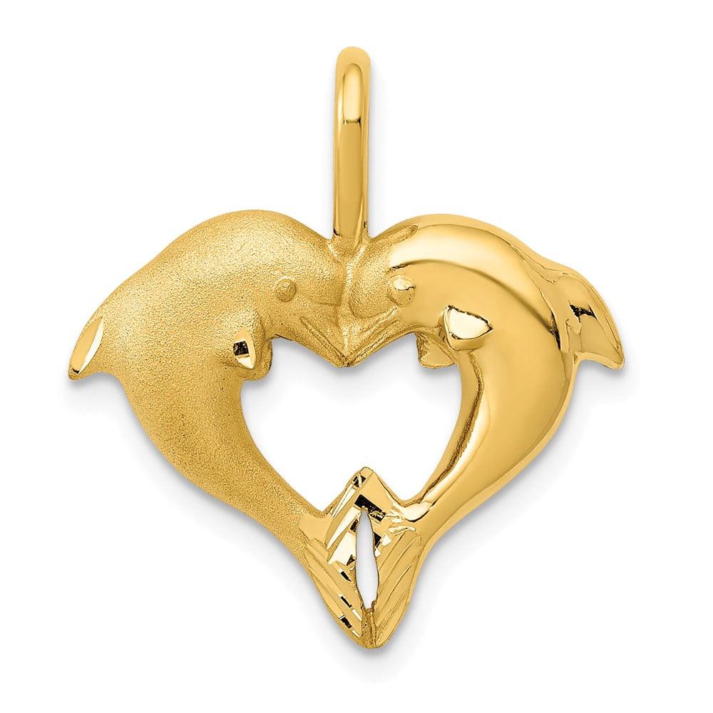 14k Yellow Gold Dolphin Heart Pendant