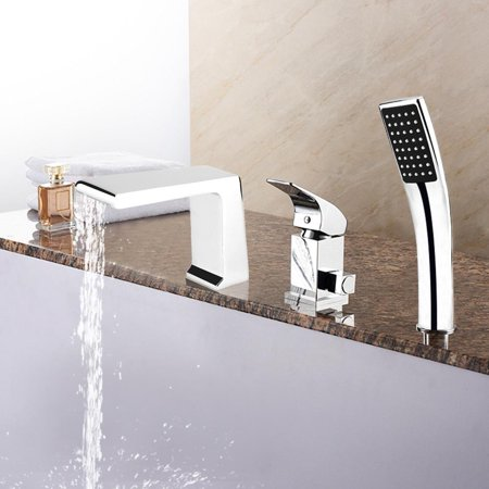 Hilitand 3Pcs 9/16  Deck Mounted Chrome Brass Bathtub Waterfall Faucet Square Handheld Shower , Square Handheld Shower, Chrome Brass Bathtub Faucet Classic Deck Mounted Bath Shower