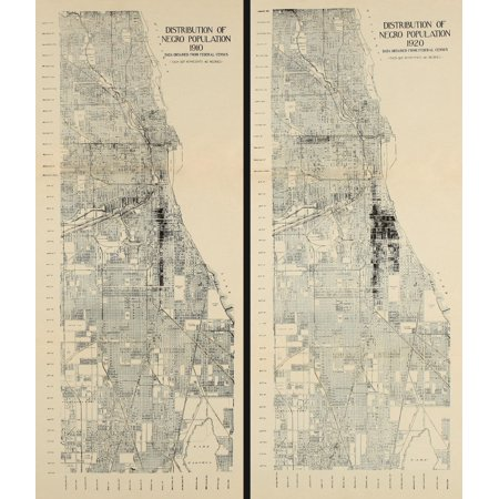 Distribution Of African American Population In Chicago In 1910 And 1920 The Map Shows The Growth Of The South Chicago Black Community During The 1910S As Northern Industry Expanded During (1920 Map)