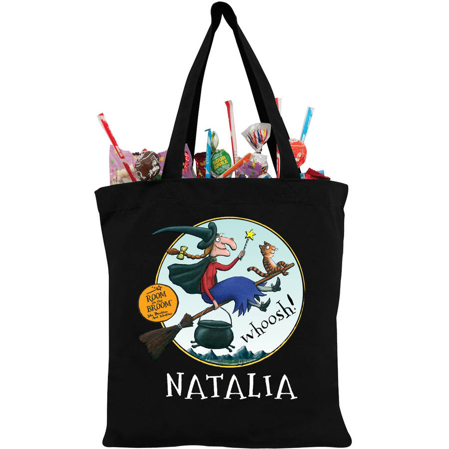 Room on the Broom Black Personalized Trick-Or-Treat Bag