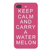 Apple Iphone Custom Case 4 4s White Plastic Snap on - Keep Calm and Carry a Watermelon