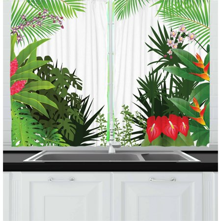 Jungle Curtains 2 Panels Set, Rainforest Vegetation Tropical Leaves and Flowers Lively Paradise Foliage Nature, Window Drapes for Living Room Bedroom, 55W X 39L Inches, Multicolor, by Ambesonne (Tropical Foliage)