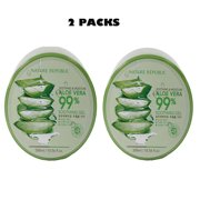 """Happyline"" 2 Packs Nature Republic New Soothing Moisture Aloe Vera Gel 99 Percent Korean Cosmetics, 10.56 Fluid Ounce"