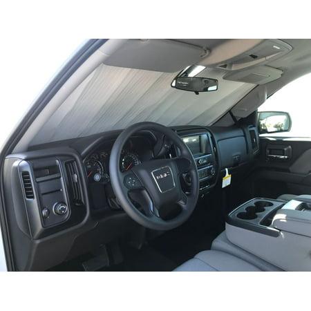 The Original Windshield Sun Shade, Custom-Fit for Chevrolet Silverado 1500 Truck (Crew Cab) w/o Sensor 2014, 2015, 2016, 2017, 2018, 2019, Silver