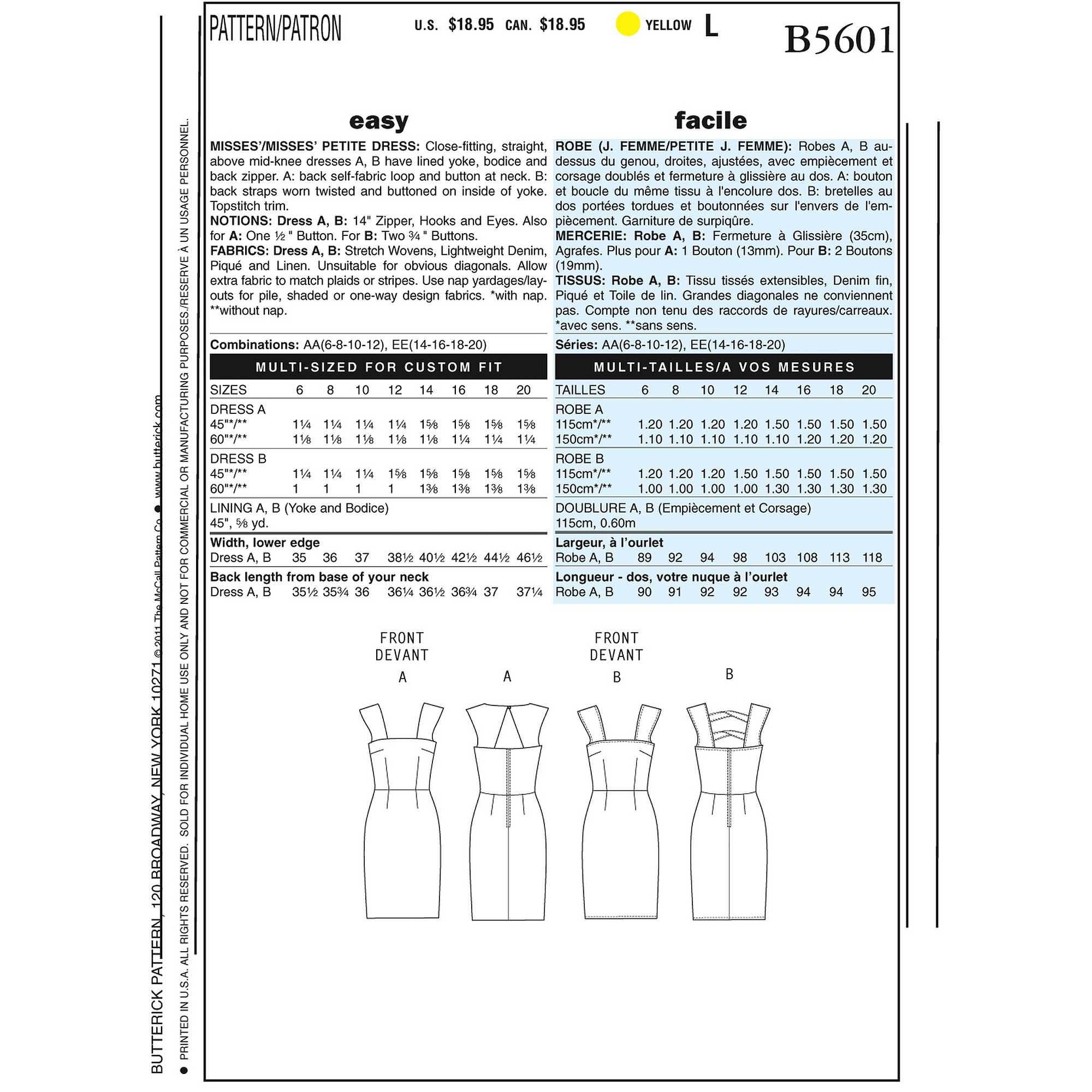 Butterick Pattern Misses' and Misses' Petite Dress, AA (6, 8, 10, 12)