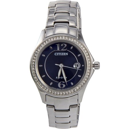 - FE114086L Silhouette Ladies Watch - Blue Dial Stainless Steel Case Eco drive Movement