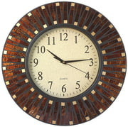 "Lulu Decor, 16"" Amber Dot Mosaic Wall Clock with 9.5"" Glass Dial, Silent Movement for Living Room & Office Space"