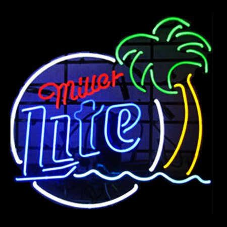 - Desung Brand New Miller Lite Palm Tree Neon Sign Lamp Glass Beer Bar Pub Man Cave Sports Store Shop Wall Decor Neon Light 24