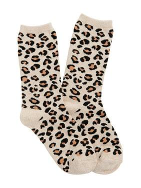 Leopard Print Crew Socks