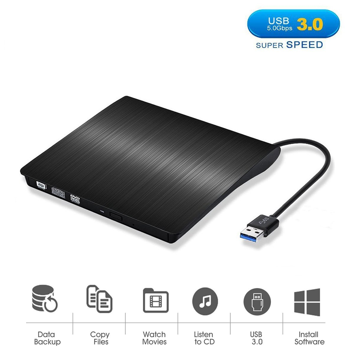 USB 3.0 External DVD CD Drive, Tagital Slim Portable External DVD/CD RW Burner Drive for Laptop, Notebook, Desktop, Mac Macbook Pro, Macbook Air and More