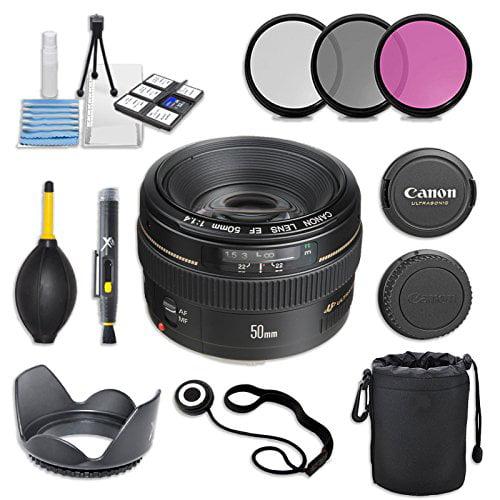 EF 50mm f/1.4 USM Lens with Ultrasonic Autofocus Motor for Canon Digital SLR Cameras & Accessory Bundle (11 Items)