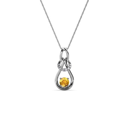 14k Gold Diamond Love Knot - Diamond & Citrine 0.16 Carat tw Women Love Knot Slider Pendant 14K White Gold with 18