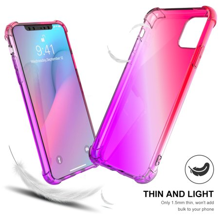 TORUBIA Thicken Anti-Scratch Case For iPhone 11 Pro 5.8 Inch Case Soft TPU Resistance Color Gradient Phone Back Cover Pink-purple - image 2 de 9