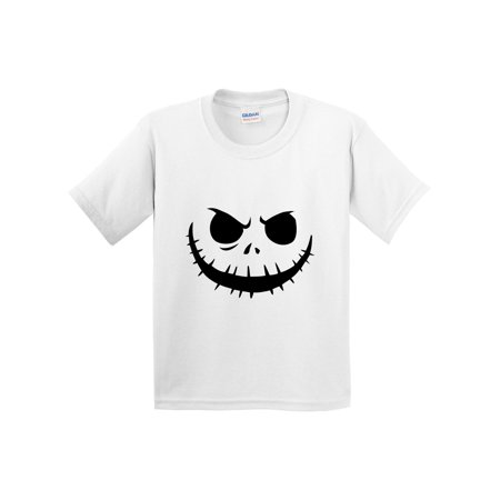 New Way 971 - Youth T-Shirt Jack Skellington Pumpkin Face Scary Small White](Jack Skellington Outfit)