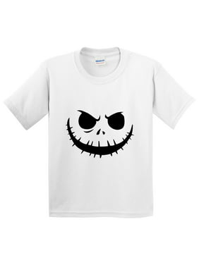 3575d8547 Product Image New Way 971 - Youth T-Shirt Jack Skellington Pumpkin Face  Scary Small White
