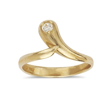 14k Yellow Gold Cubic Zirconia Top Adjustable Snake Shape Body Jewelry Toe Ring
