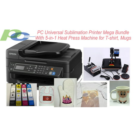 PC Universal Sublimation Bundle with Printer, 5-in-1 Heat Press Machine & T-shirts & Assorted Mugs, Transfer Paper, Heat Tape, ALL