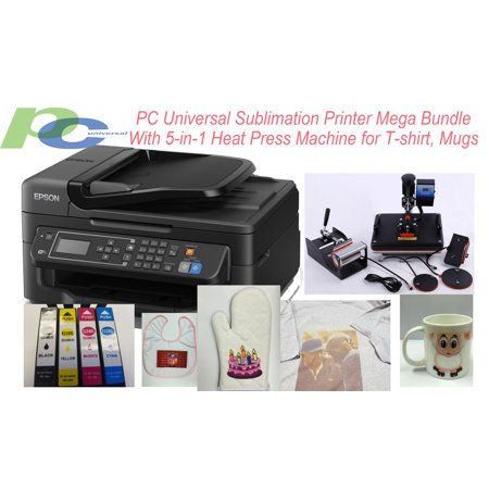 - PC Universal Sublimation Bundle with Printer, 5-in-1 Heat Press Machine & T-shirts & Assorted Mugs, Transfer Paper, Heat Tape, ALL INCLUDED