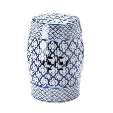 Image of Small Ceramic Stool, Chinese Outdoor Asian Patio Ceramic Stool Blue