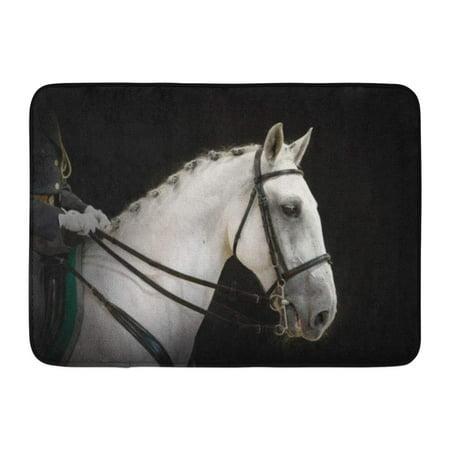 Pony Dressage Bridle - GODPOK Bridle White Animal Portrait of Gray Dressage Horse on Black Breed Champion Rug Doormat Bath Mat 23.6x15.7 inch