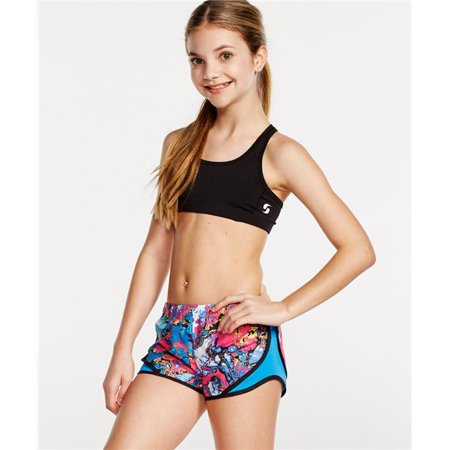 Side Mesh Insert - Girls Short Print Mesh Side Inserts Poly, Cosmic Marble - Extra Small