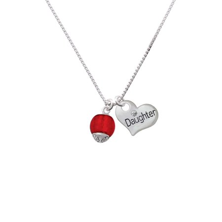 (12mm Scarlett Red Roller Spinner with Silvertone Lining Glass Spinner Daughter Heart Necklace)