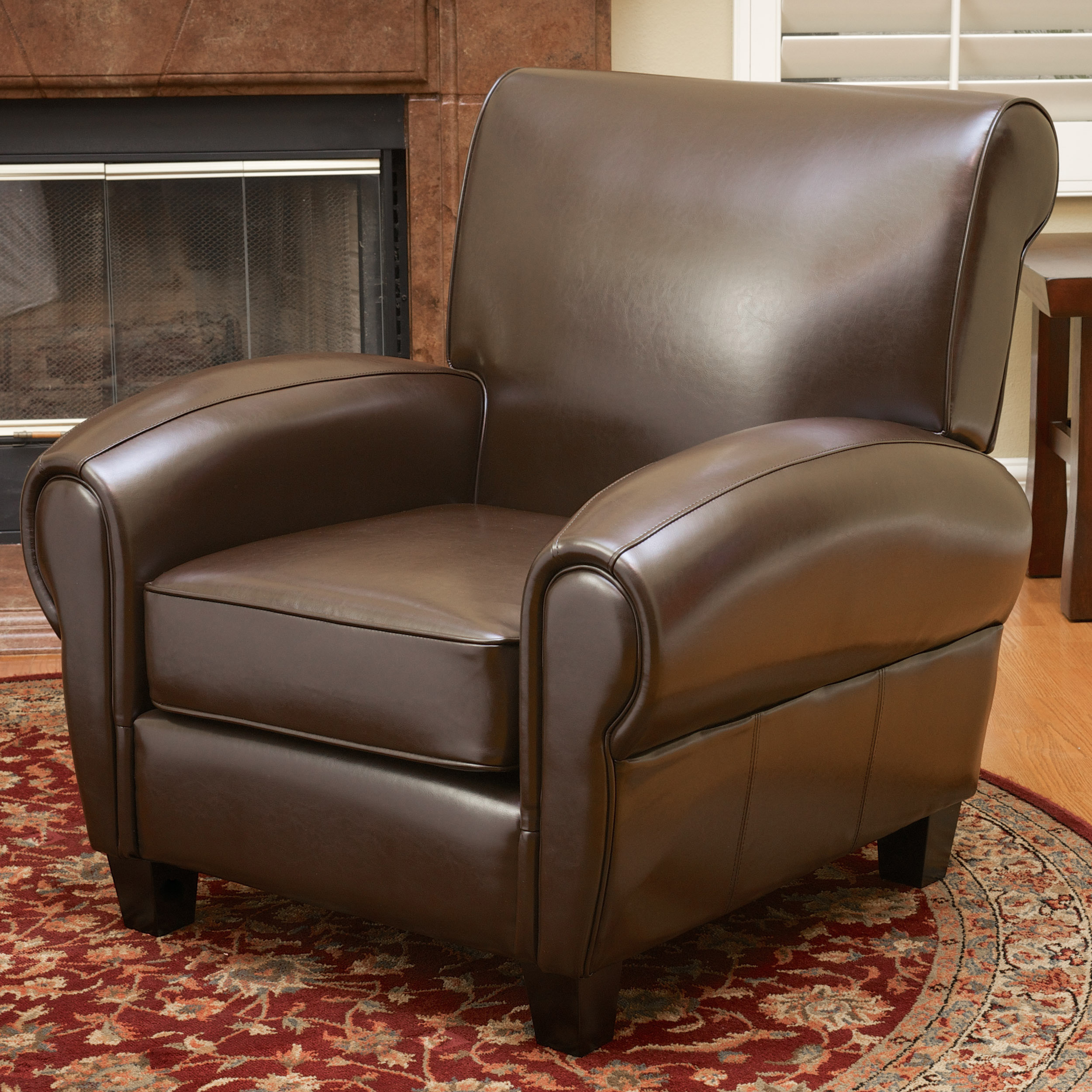 Noble House Finch Brown Bonded Leather Club Accent Chair