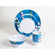Galleyware Company Decorated Spinnaker Melamine 16 Piece Dinnerware Set, Service for 4