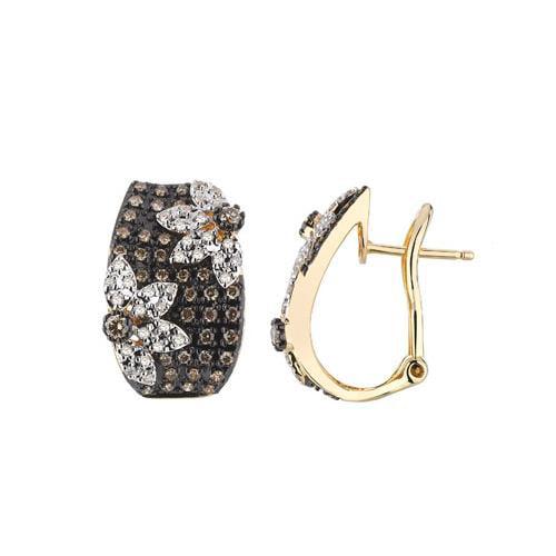 14K Yellow Gold 0.94ct Sunflowers Micropave Brown Diamond Huggie Earrings