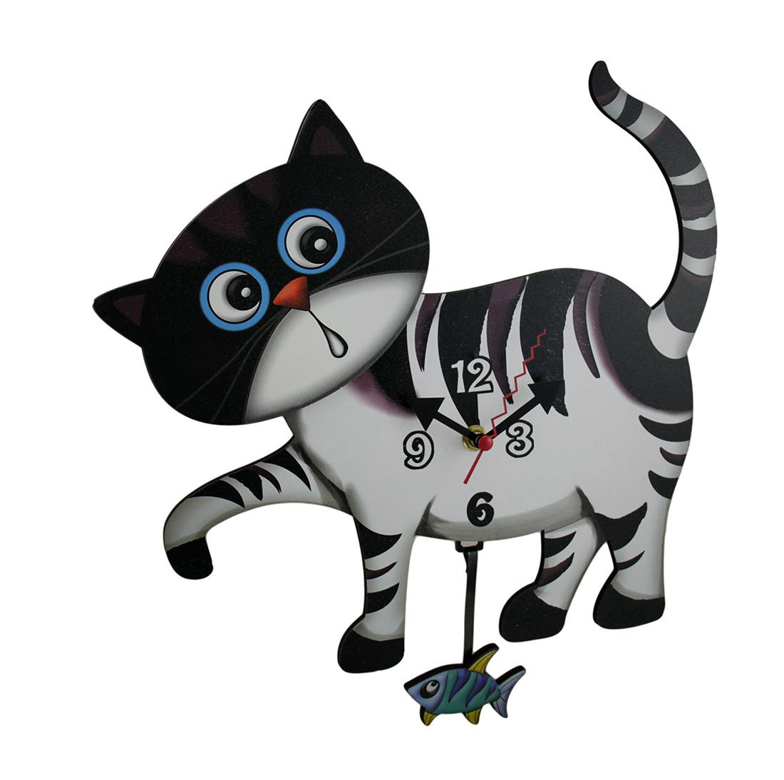 Adorable Curious Cat Pendulum Wall Clock
