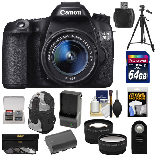 Canon EOS 70D Digital SLR Camera & EF-S 18-55mm IS STM Lens with 64GB Card + Battery & Charger + Backpack Case + 3 UV/CPL/ND8 Filters + Tripod + Telephoto & Wide-Angle Lenses + Accessory Kit