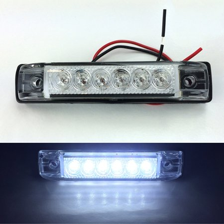 2 LONG HAUL BRIGHT CLEAR/WHITE LED SLIM LINE LED 12V 12 VOLT UTILITY STRIP LIGHTS 6 LEDS 4