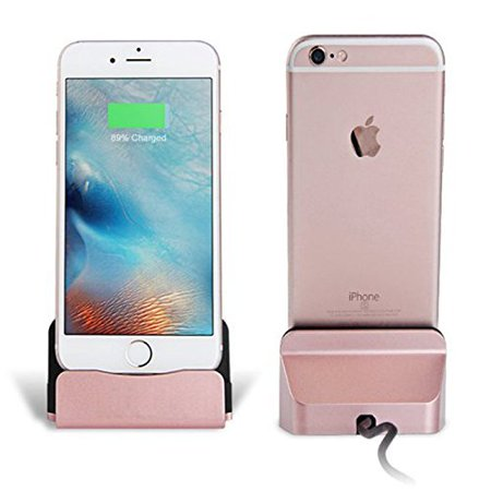 100% authentic dfb93 88af4 IOS Charger Charging Docking Desktop Stand Station Cradle Sync Dock for  iPhone 7 7s 6 6S Plus 5S 5 SE 5C 5se (Rose Gold)