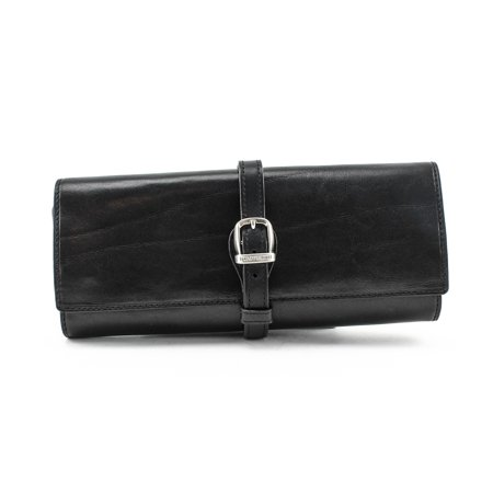 Tony Perotti Italian Leather Grande Jewelry Roll Travel Organizer in Black ()