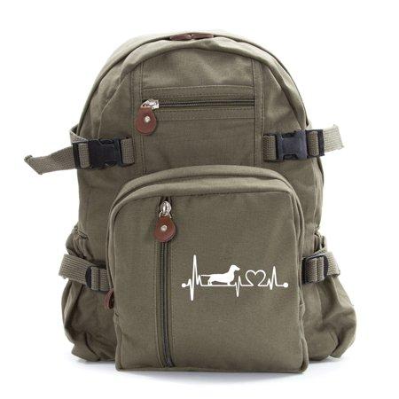 Dachshund Wiener Dog Heartbeat Lifeline Monitor Army Sport  Canvas Backpack