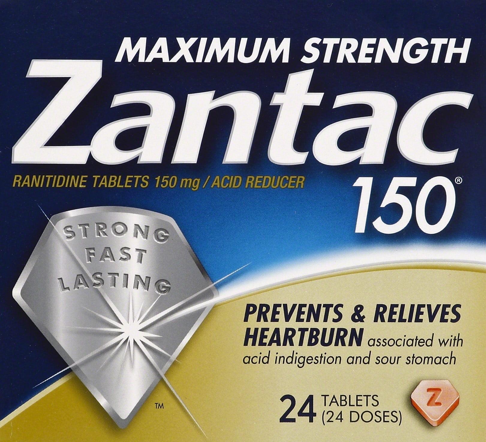 Zantac 150mg Maximum Strength Ranitidine / Acid Reducer Tablets, 24ct
