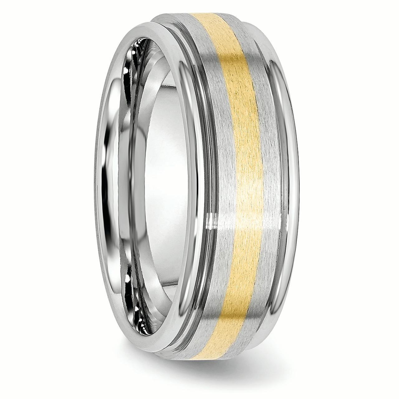 Cobalt 14k Gold Inlay 8mm Wedding Ring Band Size 11.00 Precious Metal Fine Jewelry Gifts For Women For Her - image 2 de 6