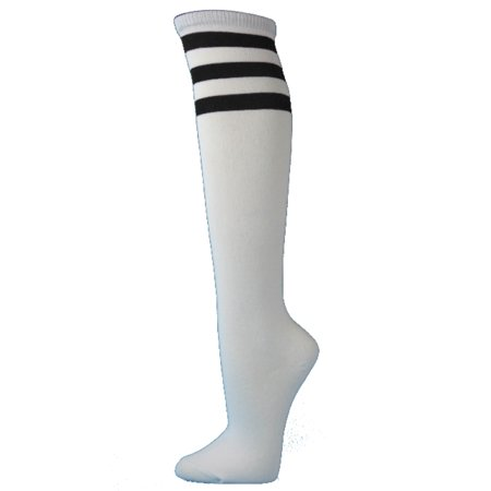 Couver White Triple Striped Knee High Fashion Casual Tube Cotton Socks, White / Black