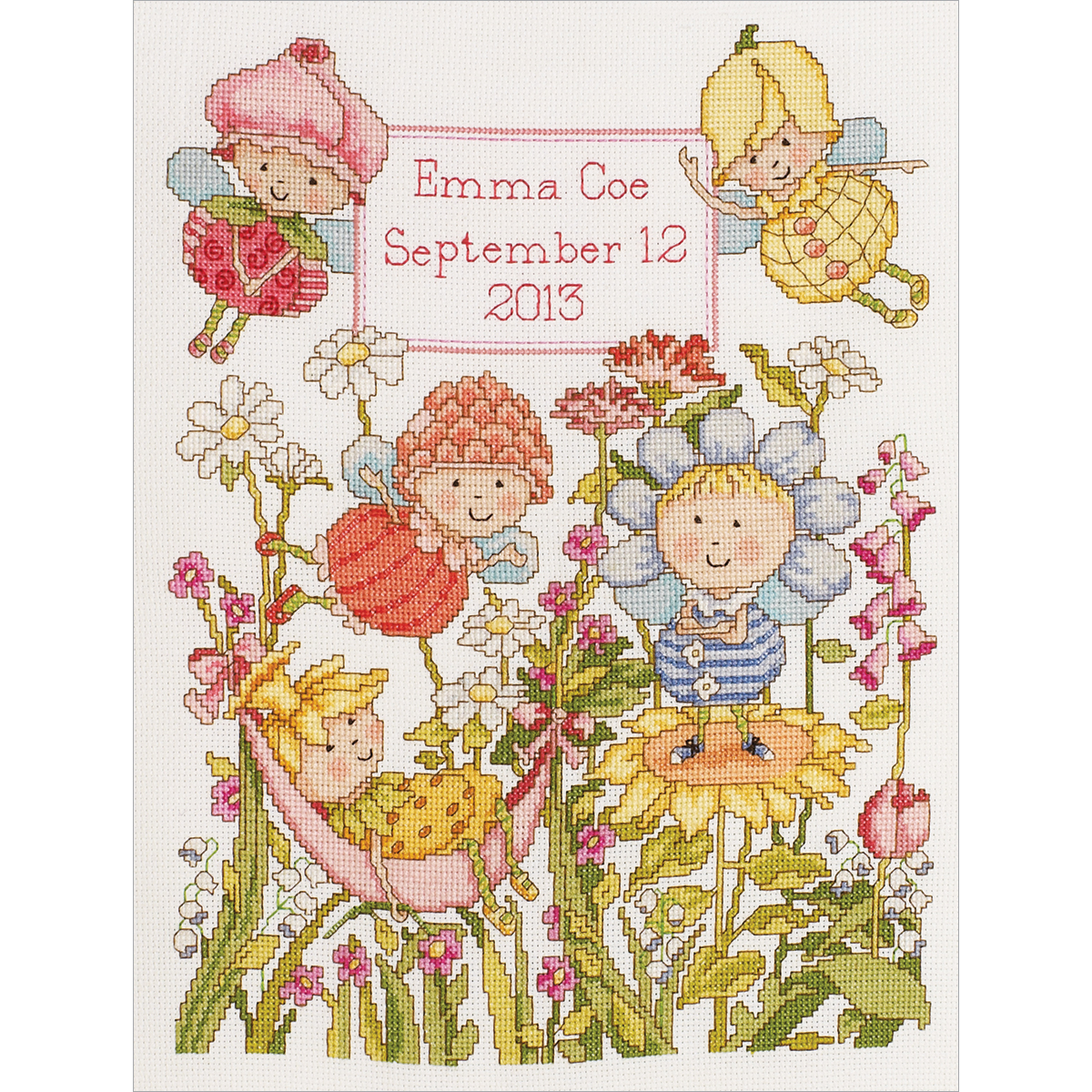 "Bucilla Garden Fairies Birth Record Counted Cross Stitch Kit, 10"" x 13"", 14 Count"