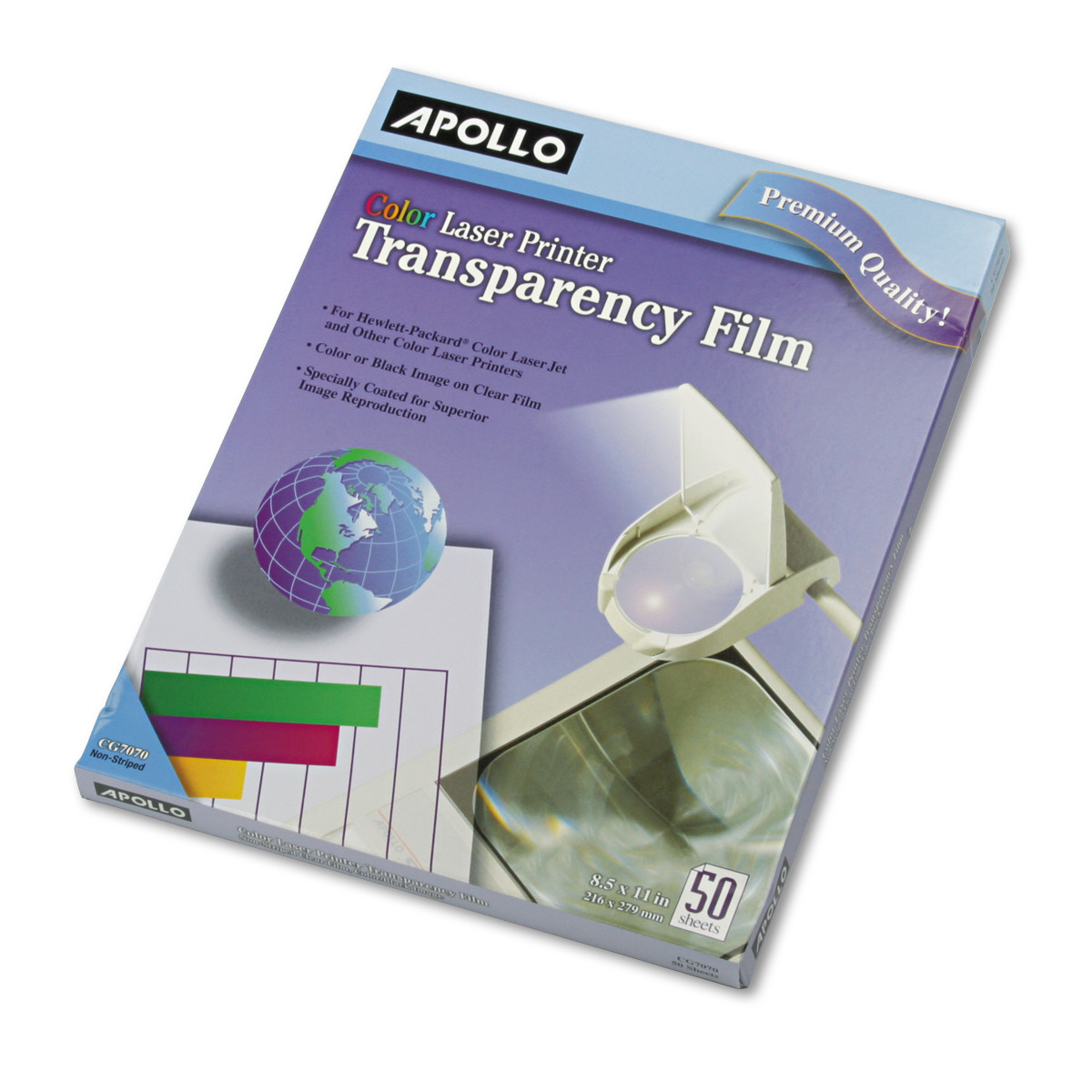 Apollo Color Laser Transparency Film, Letter, Clear, 50/Box