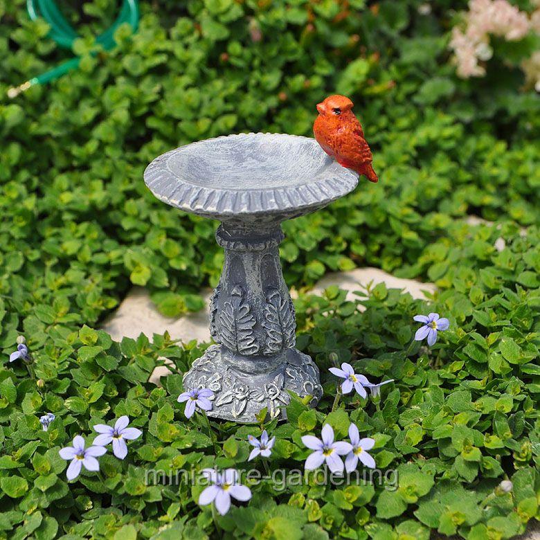 Miniature Cardinal Birdbath Pick for Miniature Garden, Fairy Garden