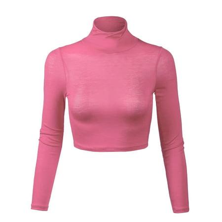 1e87bd71ae170 KOGMO - KOGMO Womens Lightweight Fitted Long Sleeve Turtleneck Crop ...