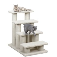 Gymax 24'' 4-Step Pet Stairs Carpeted Ladder Ramp 8 Scratching Post Cat Tree Climber